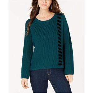 Velvet Lace-Up Sweater Medium